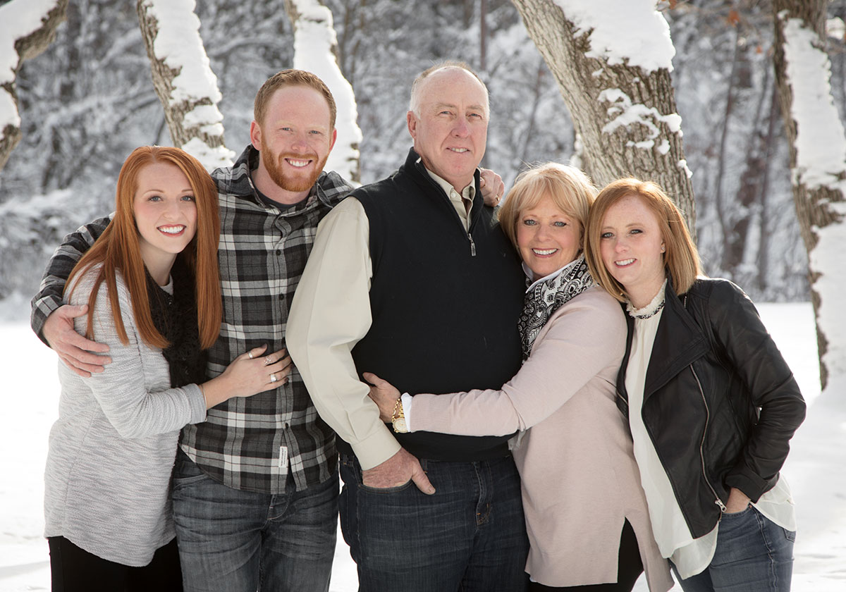 snow portrait family