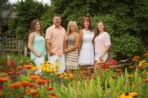family in the flowers