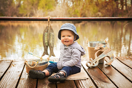 boy portrait with fishing gear