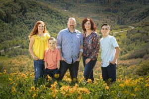 family in wildflowers