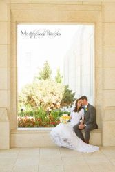 Sharing a wedding moment at the Ogden Temple